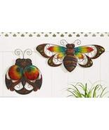 Set of 2 Glass & Iron Ladybug & Bumblebee Bee Design Indoor Outdoor Wall... - $98.99
