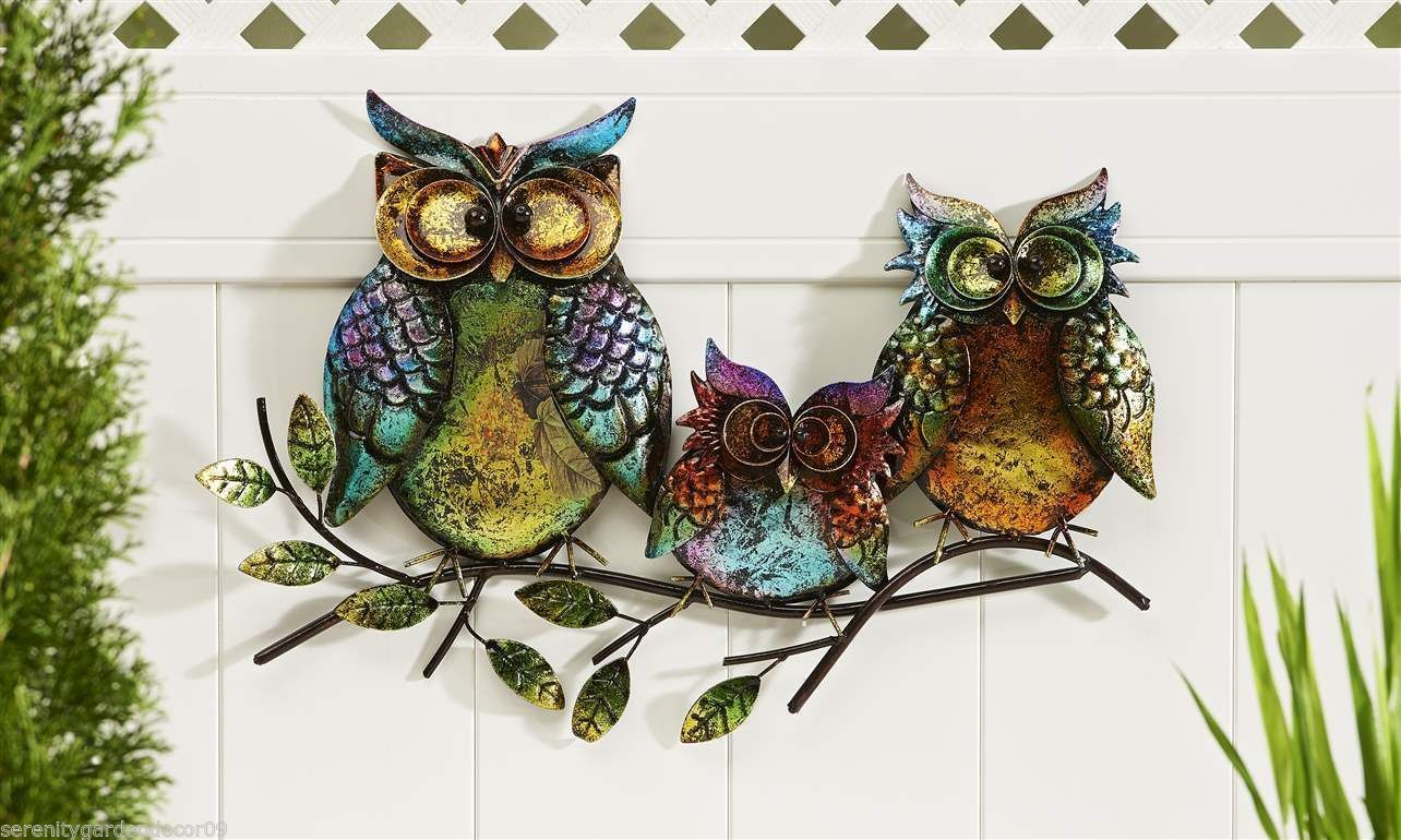 22 5 Long 3 Owls Perched Atop A Branch Design Iron