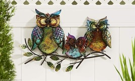 "22.5"" Long- 3 Owls Perched Atop a Branch Design Iron Indoor Outdoor Wall Decor"