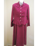 Victoria Holley 6P Dress Jacket Magenta Silk Long 2 pc Set Suit Church C... - $23.48