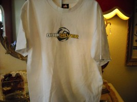 White Quiksilver T-shirt SizeY outh Large With Yellow writings - $8.32