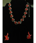 Orange Coral Thermoset Crystal Choker and Earri... - $25.00