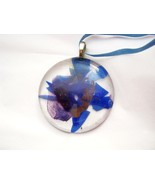 """Abstract floral blue burgundy clear fused glass 2"""" round pendant USA - $16.72"""