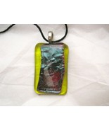 """Abstract burnt copper encased green fused glass 1"""" x 1.5"""" pendant USA - $16.72"""