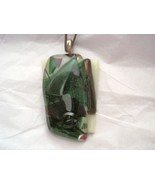 """Abstract green black white ivory fused glass 2"""" x 1.5"""" large pendant USA - $16.72"""