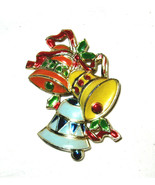 "VTG Christmas Bells hard plastic 2"" pin brooch Hong Kong EC - $16.72"