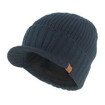 Janey&Rubbins Knit Visor Brim Beanie Hats Fleece Lined Skull Ski Caps Blue - $16.91