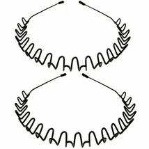 Metal Headbands 2 Pack Fashion Unisex Black Hairband Spring Wave Non Sli... - $11.87