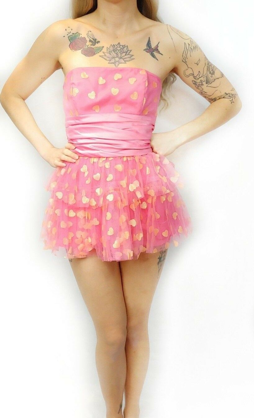 NWT $398 Betsey Johnson Pink Sparkle Heart Bow Tiered Tulle Mini Party Dress 4