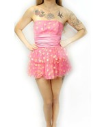 NWT $398 Betsey Johnson Pink Sparkle Heart Bow Tiered Tulle Mini Party D... - $95.00