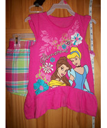 Disney Princesses Baby Clothes 18M Plaid Short Set Hot Pink Princess Top... - $14.24
