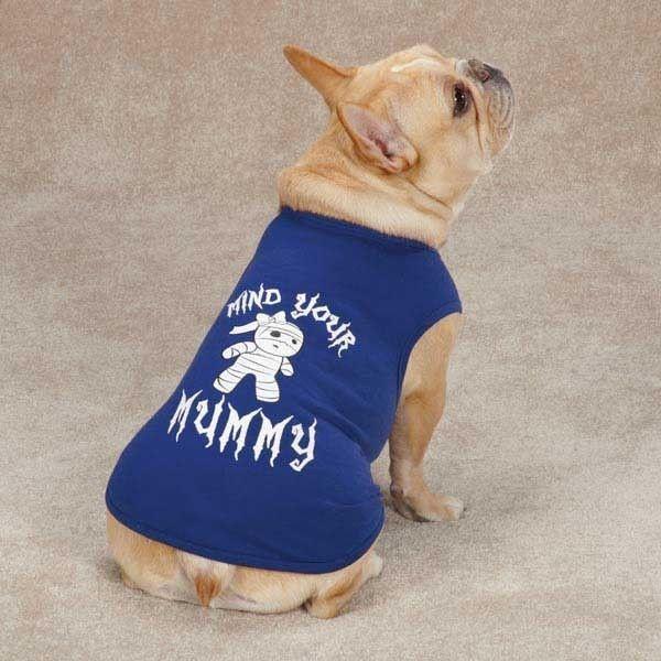 casual canine dog halloween costume mind your mummy size large blue shirt tank