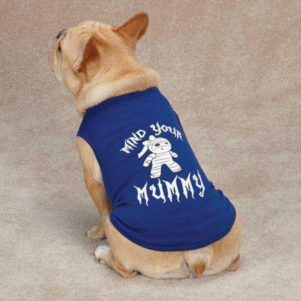 casual canine dog halloween costume mind your mummy size large blue shirt tank image 2