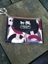 COACH Madison Graphic Satin Op Art Mini Skinny Coin purse Key ring  Mult... - $52.99