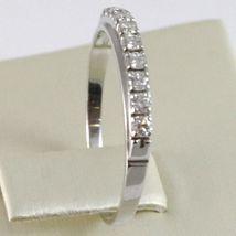 White Gold Ring 750 18k, veretta 9 diamonds carat total 0.28, Flat Shank image 3