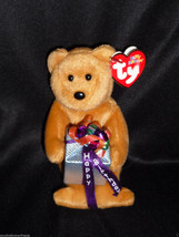 Ty Happy Birthday Bear Stuffed Plush Beanie Brown Purple 2004  Present G... - $10.00