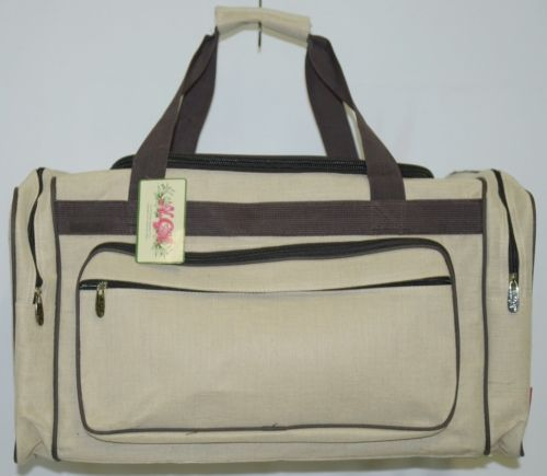 NGIL MA423 Canvas Duffle Bag Colors Khaki and Dark Brown Accents