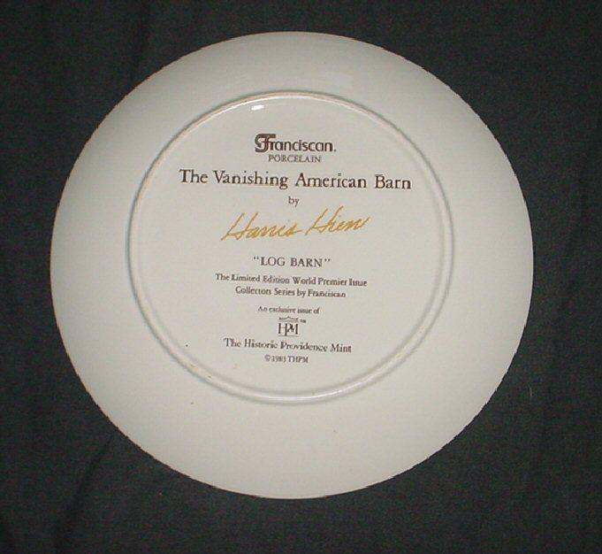 "1983 Vanishing American Barn by Hanis ""LOG BARN"" Collector Plate"