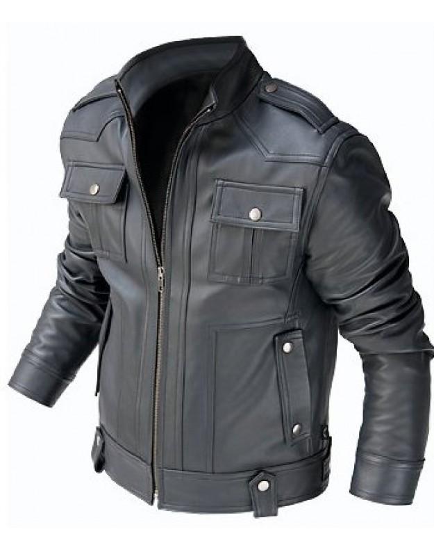 MENu0026#39;S BIKER LEATHER JACKET MEN BLACK LEATHER JACKET BLACK COLOR JACKET - Outerwear
