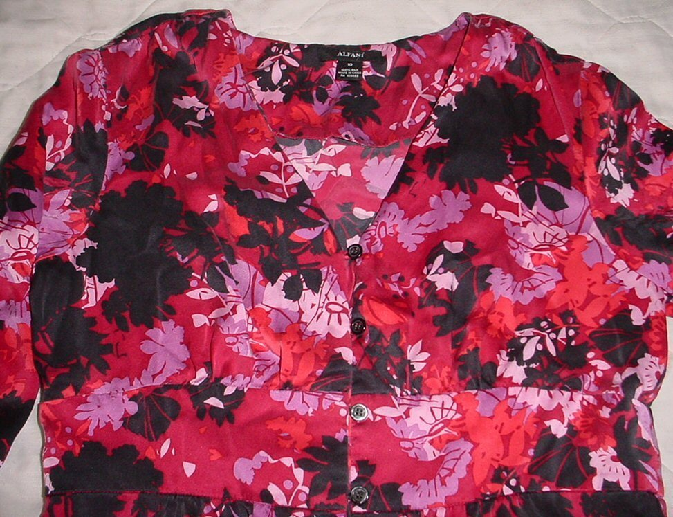 ALFANI 100% SILK  3/4  Sleeve Loop &  Button Shirt  TOP sz  10