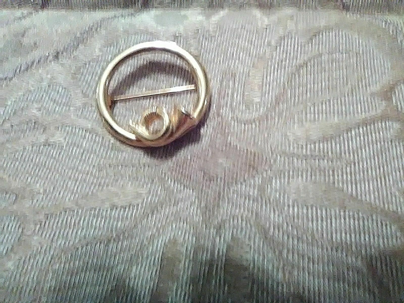 Primary image for VINTAGE GOLDEN PIN BROOCH FRENCH HORN ACCENT CIRCLE PIN OR SCARF PIN