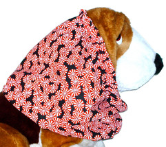 Dog Snood Christmas Holiday Peppermint Candies on Black Cotton Size Large - $12.50