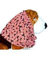 Dog Snood Christmas Holiday Peppermint Candies on Black Cotton Size Large - $14.00