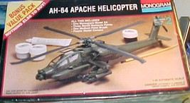 Apache Helicopter -  MONOGRAM  Helicopter Model Kit AH-64 - $13.00