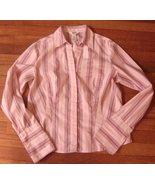 BASS G.H BASS & CO  pink & Mauve stripe  STRETCH  button Long Slv  SHIRT... - $5.99