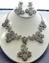 Rhinestone Vintage 1950's Set: Chandelier Long Dangle Clip On Earrings, Necklace - $225.00