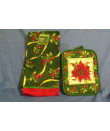 Holiday Time New Green and Red Kitchen Towel and Potholder - $8.95