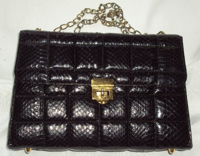 Kelly Style Genuine Snakeskin Handbag Vintage Black Box Chain Shoulder Leather Q