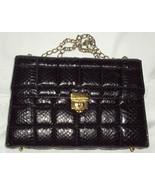 Kelly Style Genuine Snakeskin Handbag Vintage Black Box Chain Shoulder L... - $75.00