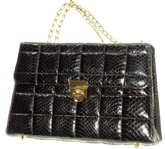 Kelly Style Genuine Snakeskin Handbag Vintage Black Box Chain Shoulder Leather Q