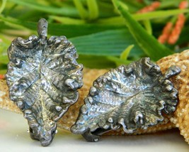 Vintage Napier Figural Leaf Earrings Clip On Silver Tone Dimensional - $15.95