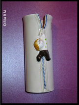 Fitz and Floyd Vintage Hand Painted VASE with Zipper motif - 5 inches tall - $30.00