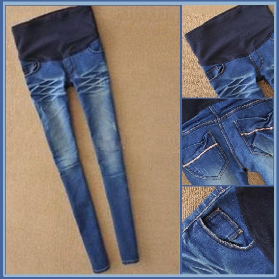 Preggers Straight Leg Blue Denim Expansion Baby Bump Skinny Blue Jeans