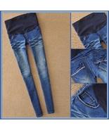 Preggers Straight Leg Blue Denim Expansion Baby Bump Skinny Blue Jeans - $67.95