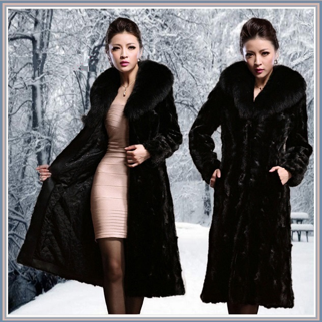 Long Dark Sable Mink Faux Fur Top Coat with Large Collar and Side Pockets