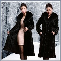 Long Dark Sable Mink Faux Fur Top Coat with Large Collar and Side Pockets  - $187.95