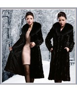 Long Dark Sable Mink Faux Fur Top Coat with Large Collar and Side Pockets  - €162,19 EUR