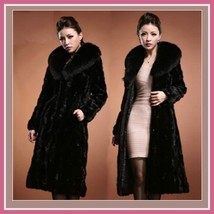 Long Dark Sable Mink Faux Fur Top Coat with Large Collar and Side Pockets  image 2