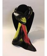Hand Painted Silk Scarf Papaya Yellow White Black Rectangle Women Best G... - $46.00