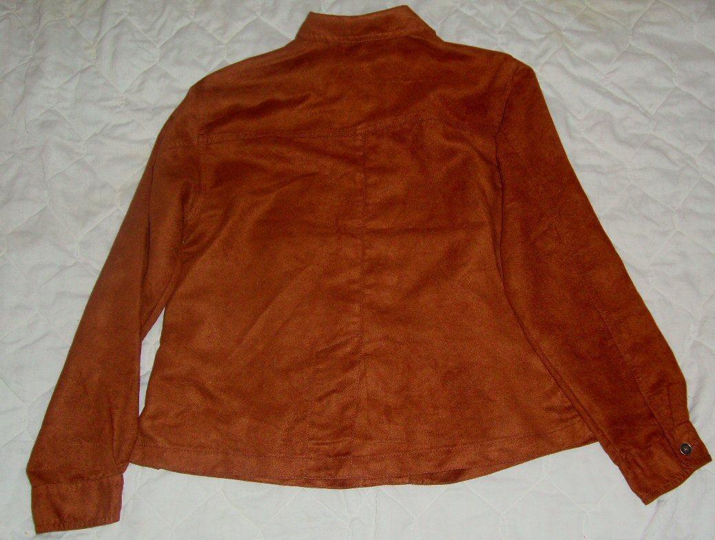 CHICO'S  brown Long Sleeve  MICROSUEDE MOLESKIN Button Down shirt  Top sz 0 (S)