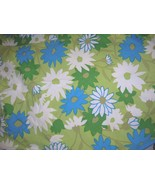 Vintage 50s 60s Round Daisy Floral Tablecloth Blue Green White Cotton - $30.00