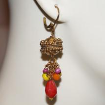 Vintage Brass Filigree Art Glass Chandelier Earrings Pierced Art Glass F... - $26.00
