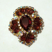 Huge Vintage Prong Set Rhinestone Brooch Pin Purple Foiled Unfoiled Stones - $112.00