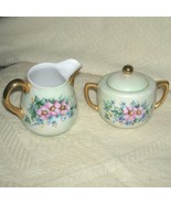Vintage Hand Painted Creamer and Sugar Bowl Japan Ware 24K Gold Accents - $50.00