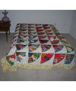 Vintage 30s 40s Fan Pattern Patchwork Quilt Top 92 x 80 - $100.00