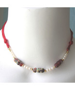 Vintage Kim Craftsman Twisted Millefiori Bead Necklace 70s Beaded Satin ... - $20.00